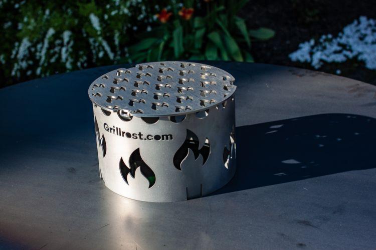 Feuerplatte Feuertonne Grilleinsatz und Krone (Wokaufsatzhalter) von Grillrost.com
